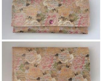 Spring Floral Vintage Inspired Trifold Wallet Paper Vegan