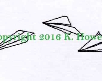 Paper Airplanes Hand Embroidery Pattern, Paper Airplane, Paper, Plane, Airplane, PDF