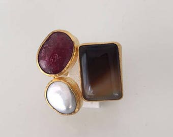 Triple Gold plated Pearl, Agate and  Ruby  ring