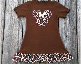 Minnie Mouse Giraffe Print Dress, Minnie Mouse Giraffe Animal Kingdom Dress, Minnie Mouse Comfy Knit  Dress, Minnie Mouse Fall Girl Dress