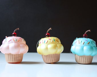 3 vintage cupcake Christmas ornaments; pink yellow blue cup cakes