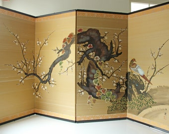 Vintage gold silk 4 panel Asian folding screen divider w/ birds perched on a cherry tree; elegant gold background, artist signed excellent!