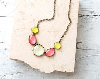 Pink, Yellow, Aqua green Necklace, Statement Necklace , Minimalist Necklace, Colorful Necklace, Glass Dome Necklace, Bib necklace