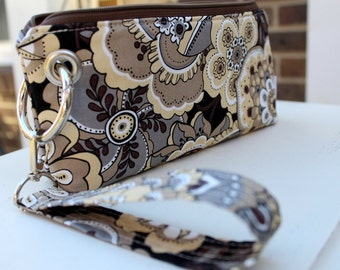 Zipper Pouch Clutch Wallet with Coin Pocket - Cell Phone - Errand Runner - Bag - Fabric Wallet - Wristlet - Earthy Floral Neutral Tones