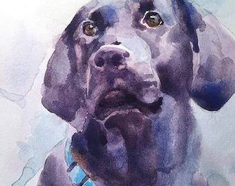 Custom Pet Portrait - Watercolor Pet Portrait - Dog Portrait - Cat portrait - watercolor on clayboard
