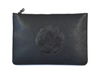 Coralie - Handmade Black Cut Out Leather Clutch Bag Zip Pouch Purse SS17