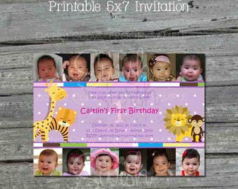 Safari First Birthday Invitation | Zoo Party | Jungle 1st Birthday | Photo Collage Invite | Digital Download | Printable Monkey Giraffe Lion