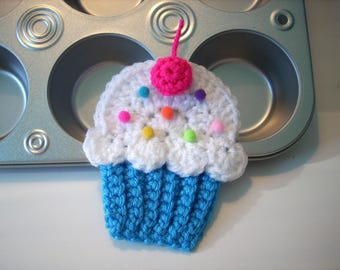 Cupcake applique Lot of 4 blue white frosting pink cherry sprinkle crochet string into Birthday Party Banner use on hats headbands purse bag