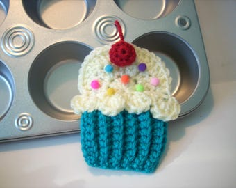 Cupcake applique Lot of 4 peacock ice lemon frosting cherry sprinkle crochet string into Birthday Party Banner use on hat headband purse bag