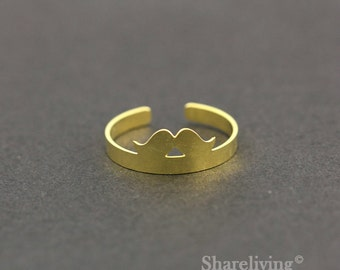 2pcs Raw Brass Moustache Ring, Adjustable mustache Brass Rings - TR026