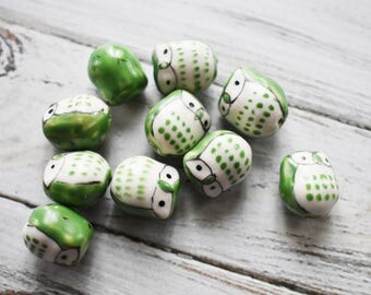 Green Ceramic Owl Beads - Cute Nature Beads- Owl Bird Painted Bead - Blue Owl Jewelry Supply- pack of 10
