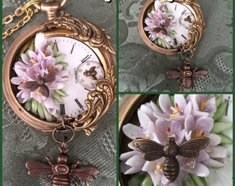 Buzzing of Spring Pocket Watch Necklace  Assemblage