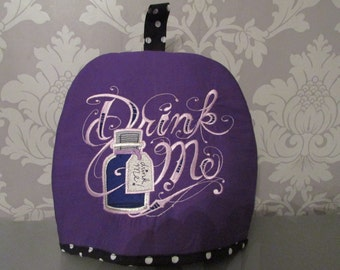 Drink Me Embroidered Purple Tea Cosy teapot /gothic/Alice in Wonderland