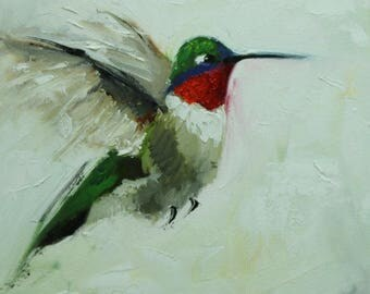 Bird painting 282 Hummingbird 12x12 inch portrait original oil painting by Roz