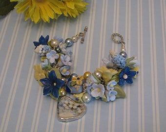 Broken China Bracelet - Porcelain Clay Bracelet - Bridal Jewelry - Handmade Bracelet - Heart Charm Bracele - Lampwork Bracelet