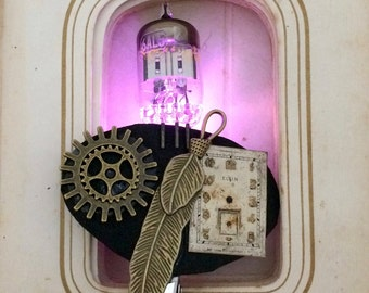 Pink steampunk LED brooch - feather jewelry - glow in the dark cameo jewelry - light up pin - Burning Man steampunk brooch - LED badge clip