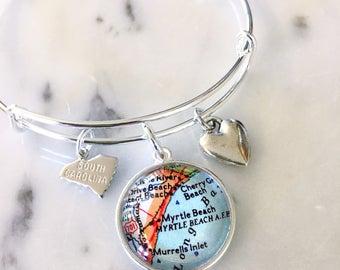 Myrtle Beach Bracelet - South Carolina Bracelet - South Carolina Coast - Adjustable Bracelet - Charm Bracelet - Stacking Bangle