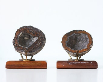 Vintage Geodes on MCM Stands, Set of 2, Mid Century Modern, Agate