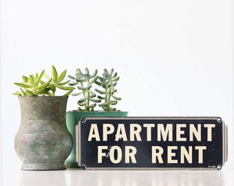 Vintage Sign, Apartment for Rent, Art Deco Sign