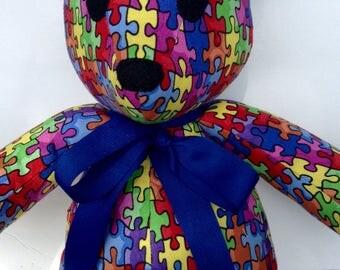 """Autism Awareness Puzzle Bear 17"""""""