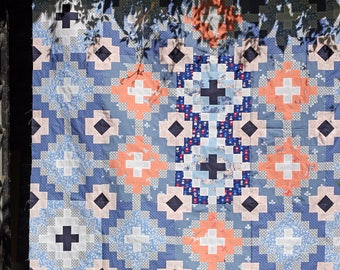 PDF pattern Instant Download NAVATE modern quilt by Katarina Roccella featuring InBlue and Recollection fabrics