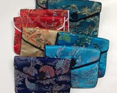 "SILK PURSES Chinese Vintage Elegant Brocade Assortment Jewelry Pouches 3"" x 4""  pkg8"
