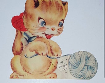 Vintage Kitty Valentine Card with Envelope