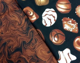 Chocolate fabric 19 inches x 36 inches of both fabrics