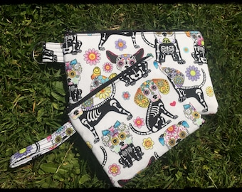 Dog Calavera Zip Pouch Makeup Bag x 2 Ready to Ship - Skeleton Halloween Day of the Dead Gift Gothic