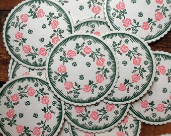 Vintage Paper Coasters - Set of 12 - Vintage Coasters, Flower Coasters, Vintage Party Coasters, Vintage Kitchen, Circle Coasters