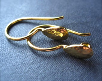 Vermeil ear wires - hammered high end jewelry earring findings - supplies Artist's Drop