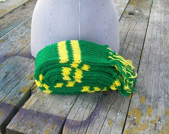 Knitted Green and Yellow Striped Long Scarf Ready to Ship