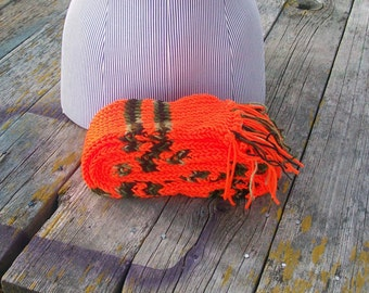 Knitted Bright Orange and Camouflage Striped Long Scarf Ready to Ship