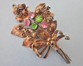 Vintage Gold Filled Rhinestone Flower Brooch