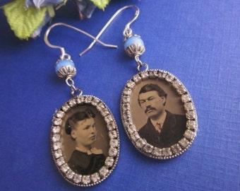 Antique Tintype Earrings with Rhinestones Gem Tintype Earrings