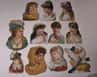 Victorian Paper Die Cuts pretty women and girls Paper Ephemera