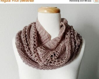 May Sale - 20% off Winter Folk Lace Cowl - Lightweight Version - Hand Knit in Hand Dyed Super Soft Wool in Warm Taupe/Sand. Fall Fashion, Mo