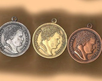 vintage brass coin style charms, THREE well made sturdy solid charms NAPOLEON three shades same charm