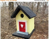 ON SALE Primitive Birdhouse Black Yellow Cozy Home Wrens Chickadees Finches