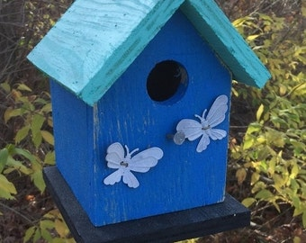 ON SALE Birdhouse Royal Blue and Turquoise Rustic  Primitive Chickadee Wren Cute Songbirds Rusty Chicken