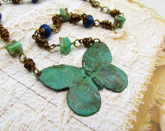 Verdigris Butterfly necklace - Lapis Chrysoprase stone necklace - rustic jewelry - Bohemian jewelry