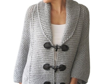 WINTER SALE Plus Size Hand Knitted Silver Grey Poncho with Leather Rope by Afra