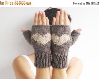 WINTER SALE Valentines Day Fingerless Gloves - Mittens Brown - Ecru