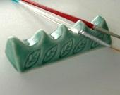 Ceramic Artist Brush/Pen Rest, Green