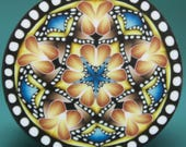 LARGE Polymer Clay Circle Kaleidoscope Cane with Dot Border (47A)