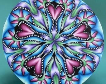 LARGE Polymer Clay Circle Kaleidoscope Cane-'Wander' series (40cc)