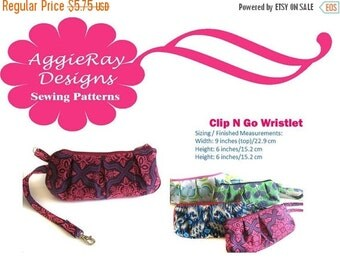 ON SALE INSTANT Download Pdf Tutorial Sewing Pattern Clip & Go Wristlet
