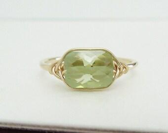 Swarovski peridot rectangle ring, wire wrapped crystal ring, peridot green ring, solitaire peridot ring