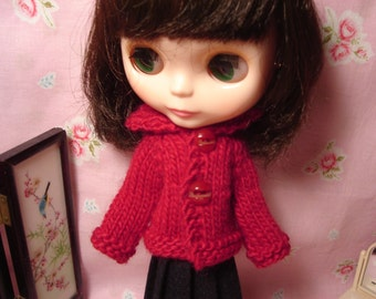 Blythe Red Wool Jacket for Pullip and Vintage Skipper Too!