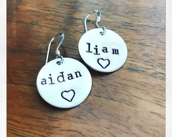 Mother's earrings sterling name children mom grandma hand stamped custom personalized kids engraved with heart.